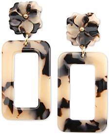 Zenzii Gold-Tone Tortoise Shell-Look Acetate Square Drop Earrings