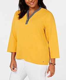 Plus Size Contrast Y-Neck Top