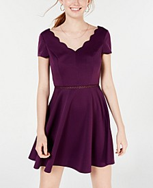 Juniors' Scalloped Skater Dress