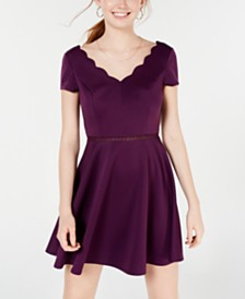 City Studios Juniors' Scalloped Skater Dress