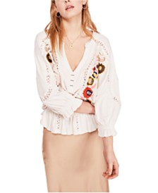 Free People Serafina Embroidered Top