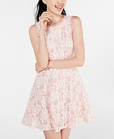 Juniors' Floral Lace A-Line Dress