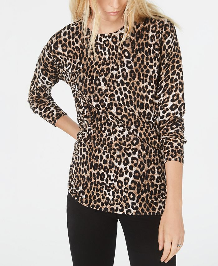 Michael Kors - Plus Size Leopard-Print Sweater