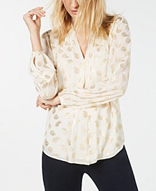 Metallic Paisley Blouse, Regular & Petite Sizes