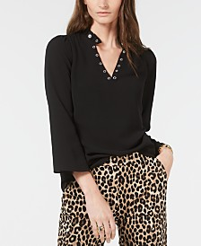 Michael Michael Kors Plus Size Bell-Sleeve Grommet-Trim Top