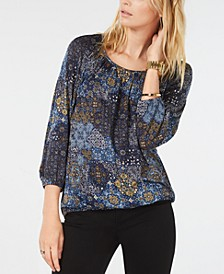 Printed Gathered-Neck Top, Regular & Petite Sizes