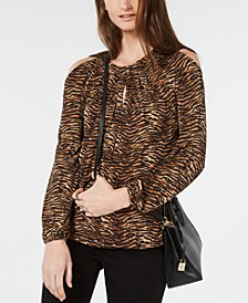 Tiger Print Cold-Shoulder Top