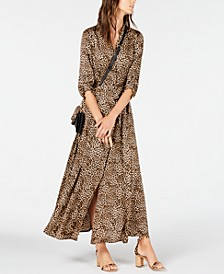 INC Petite Belted Leopard Shirtdress, Created for Macy's