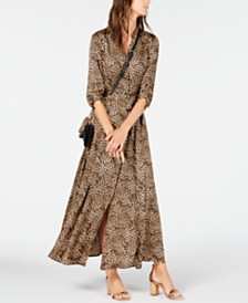 I.N.C. Petite Belted Cat-Print Shirtdress, Created for Macy's