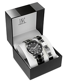 INC Men's Two-Tone Bracelet Watch 42mm Gift Set, Created For Macy's