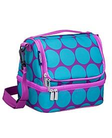 Big Dot Aqua Two Compartment Lunch Bag