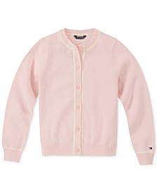 Toddler Girls Contrast-Trim Cotton Cardigan