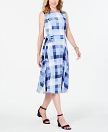 Charter Club Petite Plaid Midi Dress, Created for Macy's