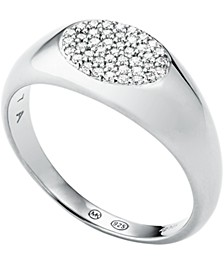 Sterling Silver Pave Signet Ring