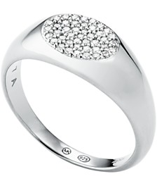 Michael Kors Sterling Silver Pave Signet Ring