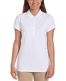 Juniors Short Sleeve Double Pique Polo