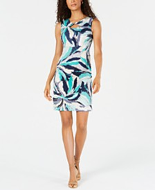 JM Collection Petite Twist-Neck Sheath Dress, Created for Macy's