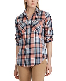 Lauren Ralph Lauren Plaid-Print Cotton Twill Roll-Tab Shirt
