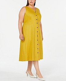 Plus Size Button-Front Fit & Flare Dress, Created for Macy's