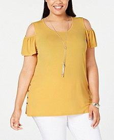 Plus Size Flutter-Sleeve Cold-Shoulder Necklace Top, Created for Macy's