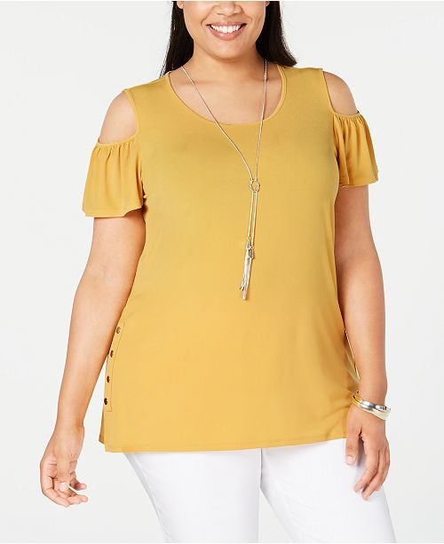JM Collection Plus Size Flutter-Sleeve Cold-Shoulder Necklace Top, Created for Macy's
