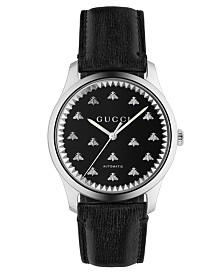 Gucci Men's Swiss Automatic G-Timeless Black Leather Strap Watch 42mm