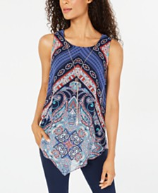 JM Collection Sleeveless Printed Necklace Top, Created for Macy's