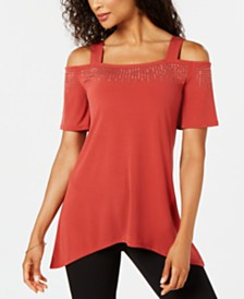 JM Collection Cold-Shoulder Embellished Top, Created for Macy's