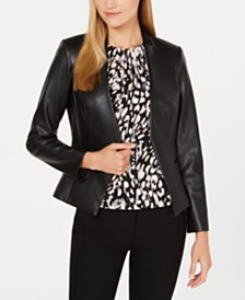Calvin Klein Asymmetrical Faux-Leather Jacket