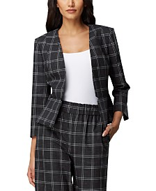 Tahari ASL Collarless Plaid Blazer