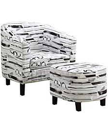 2 Piece Set Polyester Blend Accent Chair With Ottoman