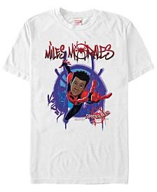 Marvel Men's Spider-Man Into The Spiderverse Miles Morales Graffiti Logo Short Sleeve T-Shirt