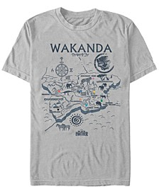 Men's Black Panther Wakanda World Map Short Sleeve T-Shirt