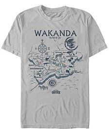 Marvel Men's Black Panther Wakanda World Map Short Sleeve T-Shirt
