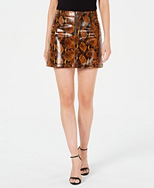 Yolanda Snake-Print Faux-Leather Mini Skirt