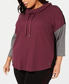 Plus Size Cowlneck Colorblocked Top