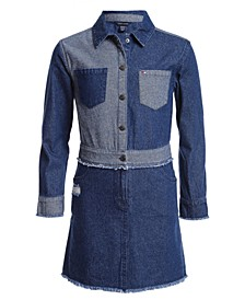 Big Girls Two-Tone Cotton Denim Shirtdress