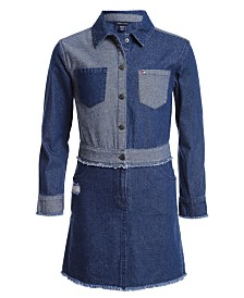 Tommy Hilfiger Big Girls Two-Tone Cotton Denim Shirtdress