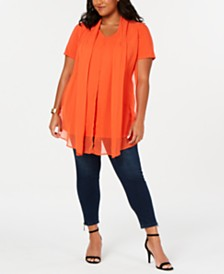 NY Collection Plus Size Chiffon-Overlay Top
