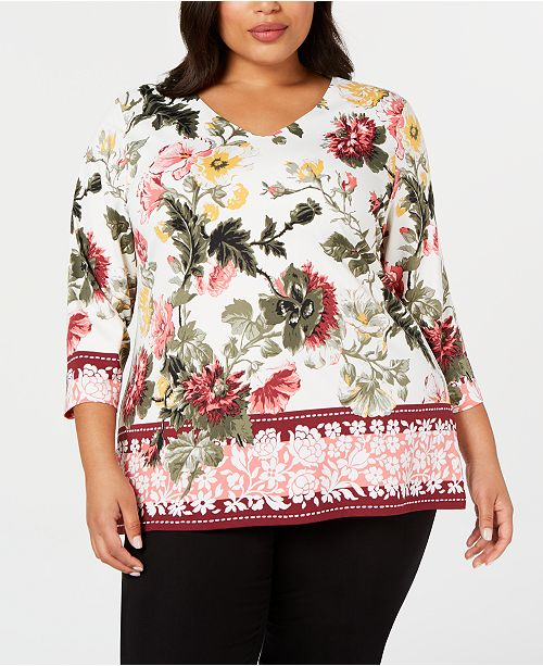 Charter Club Plus Size V-Neck Garden Top, Created for Macy's