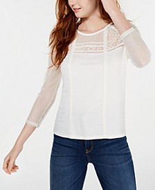 Juniors' Long-Sleeve Mixed-Media Top, Created for Macy's