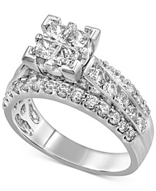 Diamond Cluster Engagement Ring (2 ct. t.w.) in 14k White Gold