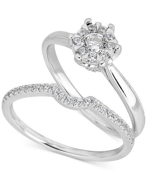 Macy's Diamond Cluster Bridal Set (1/2 ct. t.w.) in 14k White Gold
