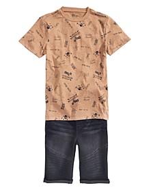 Big Boys Motorcycle T-Shirt & Stretch Denim Drawstring Moto Shorts, Created for Macy's