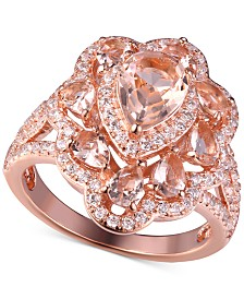 Morganite Cubic Zirconia Ring in Rose Gold-Plate Over Sterling Silver