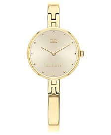 Tommy Hilfiger Women's Gold-Tone Stainless Steel Bangle Bracelet Watch 26mm, Created For Macy's