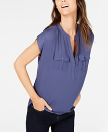 I.N.C. Split Neck Utility Shirt, Created for Macy's