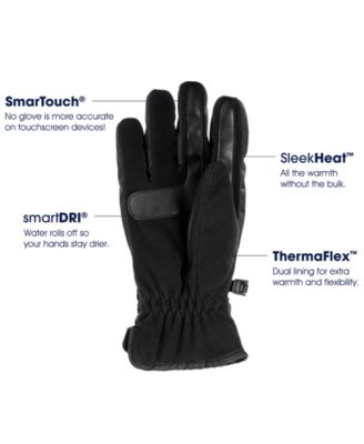 Isotoner Men/'s Active SmarTouch Gloves Sleekheat Black