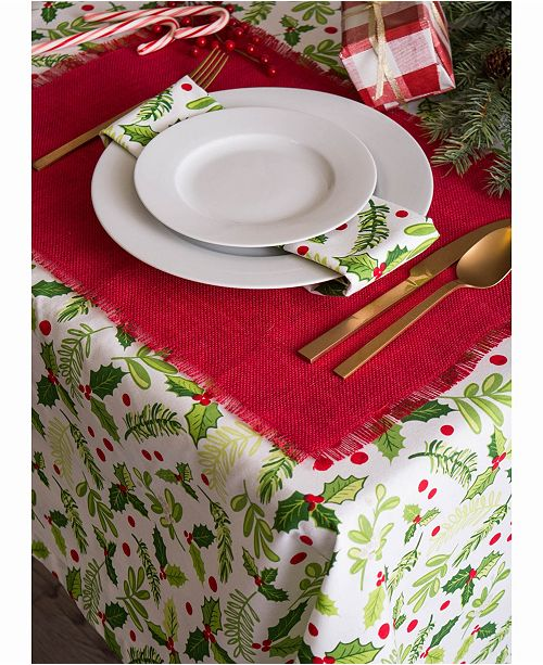 Design Import Boughs Of Holly Print Table Cloth 60 Quot X 120