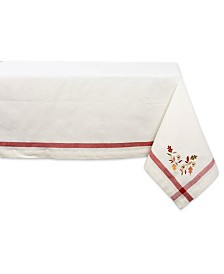 "Design Imports Embroidered Fall Leaves Corner with Border Table Cloth 60"" x 84"""